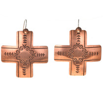Native American Copper Cross Earrings 22367