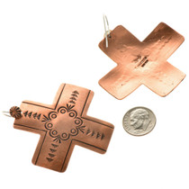 Hammered Copper Cross Navajo Earrings 22367