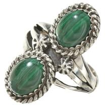 Malachite Silver Ladies Ring 25426