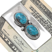 Two Stone Turquoise Navajo Money Clip 24549