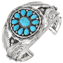 Turquoise Cluster Silver Native Indian Cuff 27652