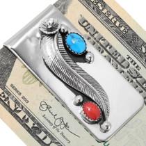 Turquoise Coral Southwest Money Clip 24273