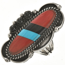 Coral Turquoise Jet Ladies Pointer Ring 28807