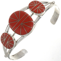 Inlaid Three Stone Coral Bracelet 28244