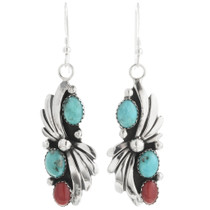 Turquoise Coral Dangle Earrings 25869