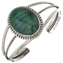 Malachite Silver Navajo Ladies Cuff 15365
