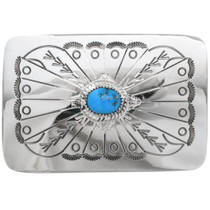 Navajo Turquoise Silver Belt Buckle 28035