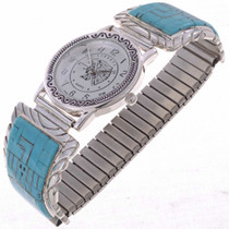 Inlaid Silver Mens Watch 24514