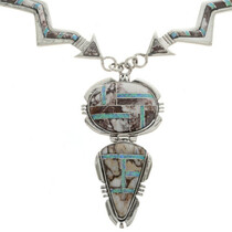 Inlaid Sterling Arrow Opal Necklace 28033