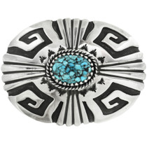 Spiderweb Turquoise Silver Belt Buckle 29653
