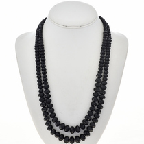 Two Strand Faceted Black Beaded Necklace 17847