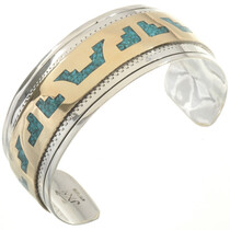 Turquoise Gold Silver Bracelet 17797