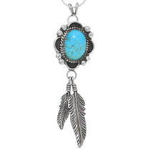 Navajo Turquoise Feather Pendant 27292