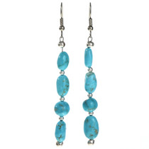 Navajo Turquoise Silver Earrings 29028