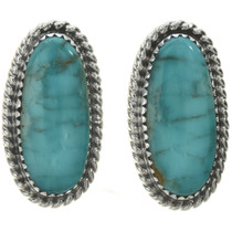 Kingman Turquoise Navajo Silver Earrings 28529