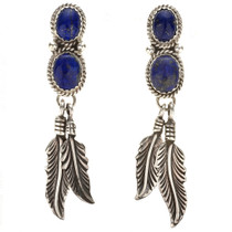 Native American Lapis Silver Feather Earrings 29459
