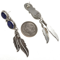 Lapis Silver Feather Earrings 29459