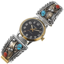 Navajo Kingman Turquoise Gold Watch 27796