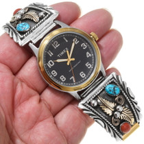 Turquoise Coral Native American Watch 27796