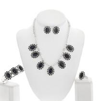 Natural Black Onyx Necklace Set 28912