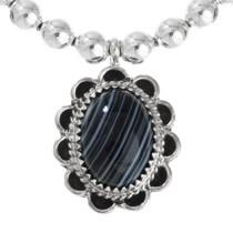 Black Gemstone Sterling Silver Bead Necklace 28912