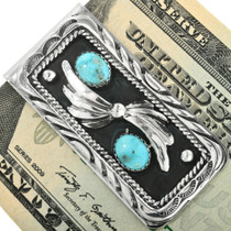 Native American Turquoise Silver Money Clip 26849