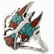 Turquoise Coral Inlaid Silver Ring 27568