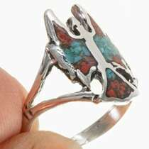 Navajo Turquoise Coral Ladies Ring 27568