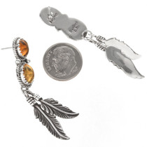Silver Feathers Post Dangle Earrings 29458