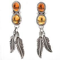 Navajo Citrine Silver Dangle Earrings 29458