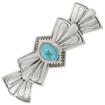 Embossed Silver Turquoise Hair Barrette 23264