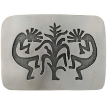 Overlaid Silver Kokopelli Belt Buckle 24073