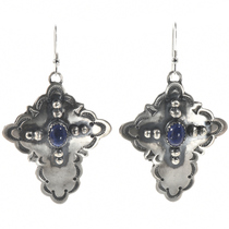 Navajo Lapis Silver Cross Earrings 28853