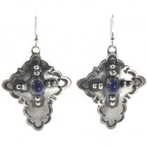 Navajo Lapis Silver Cross Earrings 28853