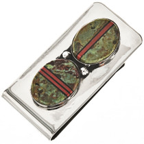Turquoise Coral Inlaid Silver Money Clip 23920