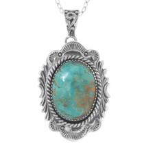 Genuine Turquoise Navajo Pendant With Chain 25551