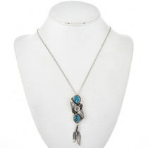 Kingman Turquoise Feather Pendant 27115