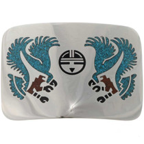 Turquoise Coral Silver Belt Buckle 27354