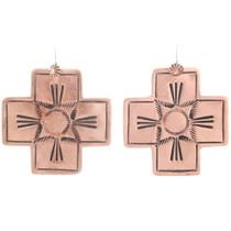 Navajo Hammered Copper Cross Earrings 22370