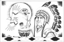Chief in Headdress Eagle Totem Art Print 17194