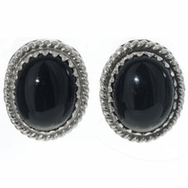 Black Onyx Navajo Post Earrings 28441