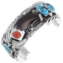 Bear Claw Turquoise Coral Mens Bracelet 26367
