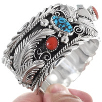 Turquoise Coral Silver Western Cuff Bracelet 26367