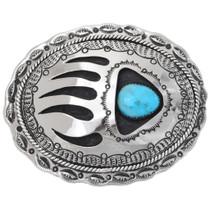 Navajo Turquoise Silver Belt Buckle 22797