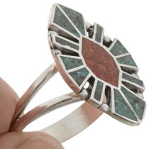 Chip Inlay Turquoise Coral Ring 27160