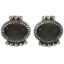 Navajo Black Onyx Silver Earrings 28841