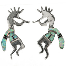 Inlaid Opal Jet Kokopelli Earrings 29539