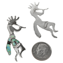 Navajo Silver Kokopelli Post Earrings 29539