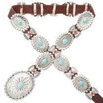 Navajo Turquoise Coral Concho Brown Belt 13841
