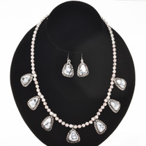 Crazy Horse Howlite Silver Necklace Set 29627